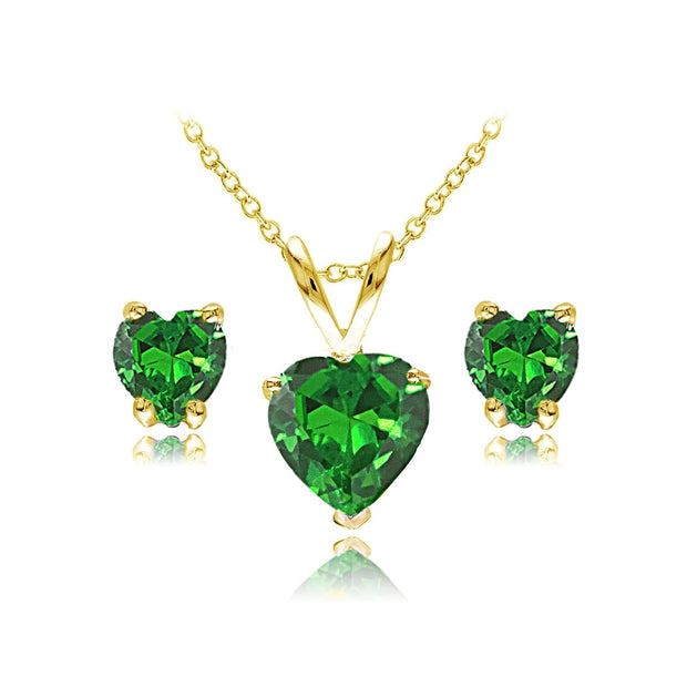 Yellow Gold Flashed Sterling Silver Simulated Emerald Heart Solitaire Necklace and Stud Earrings Set