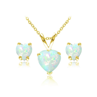 Yellow Gold Flashed Sterling Silver Simulated White Opal Heart Solitaire Necklace and Stud Earrings Set
