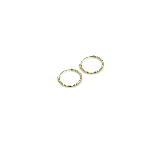 Gold Tone over Sterling Silver Set of Two Endless Hoop Earrings, 10mm