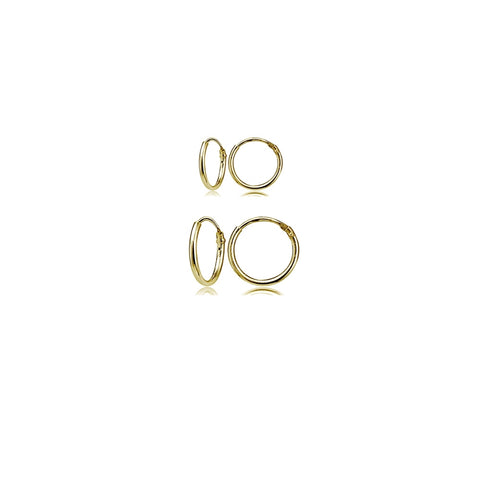 2 Pair Set Yellow Gold Flash Sterling Silver 10mm & 12mm Tiny Small Lightweight Thin Round Continuous Endless Unisex Hoop Earrings