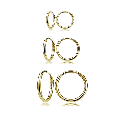 3 Pair Set Yellow Gold Flash Sterling Silver 10mm, 12mm & 14mm Tiny Small Lightweight Thin Round Continuous Endless Unisex Hoop Earrings