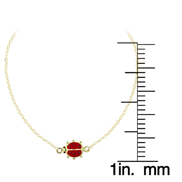 Gold Tone over Sterling Silver Enamel Ladybug Anklet and Toe Ring Set