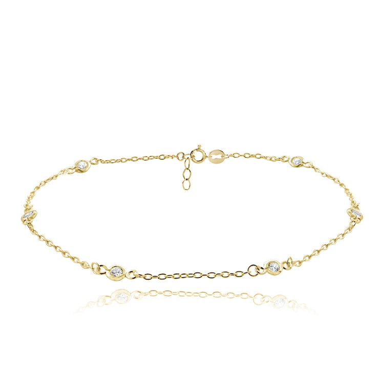 Gold Tone over Sterling Silver Cubic Zirconia Anklet and Toe Ring Set