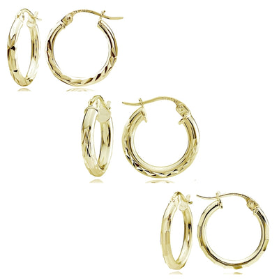 Gold Flash Sterling Silver Polished Diamond-Cut Design 15mm Round Hoop Earrings, Set of 3
