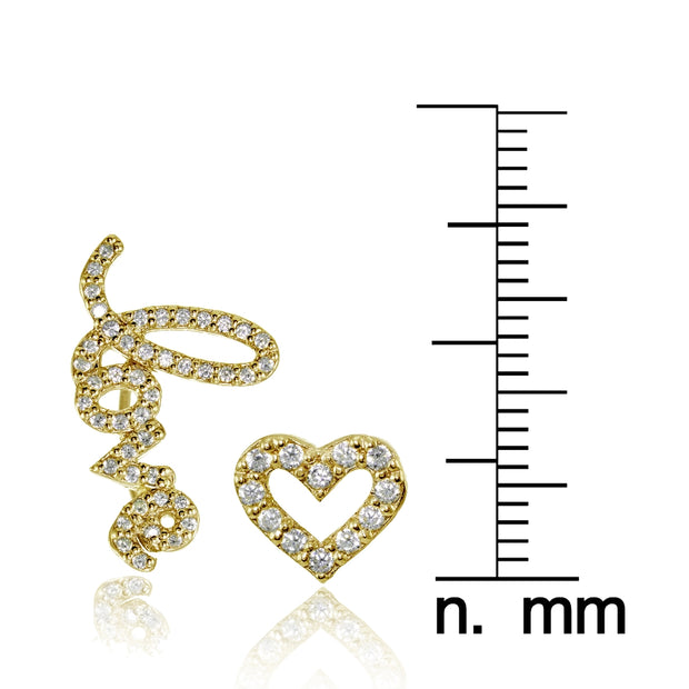 Yellow Gold Flashed Sterling Silver Cubic Zirconia Heart Stud & LOVE Climber Crawler Earrings Set
