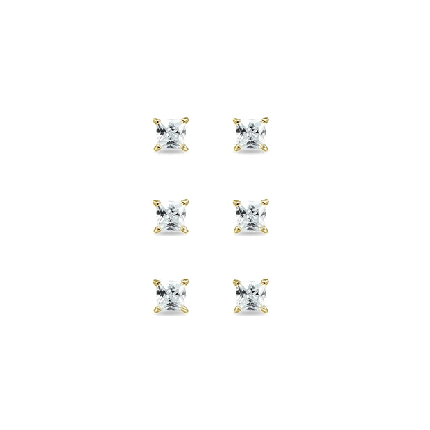 3-Pair Set Yellow Gold Flashed Sterling Silver Cubic Zirconia Princess-Cut 4mm Square Stud Earrings