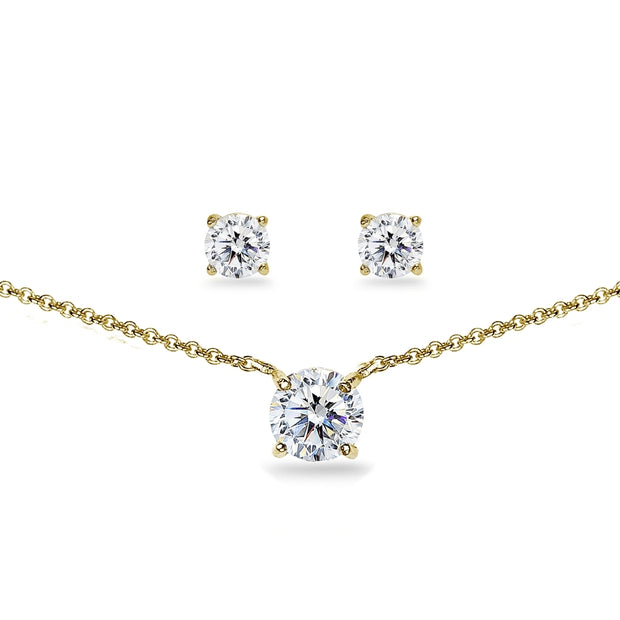 Yellow Gold Flashed Sterling Silver Cubic Zirconia Round Solitaire Choker Necklace and Stud Earrings Set