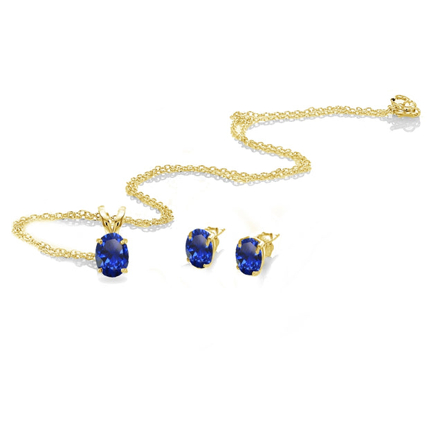 Yellow Gold Flashed Sterling Silver Created Blue Sapphire Oval-cut Solitaire Necklace and Stud Earrings Set