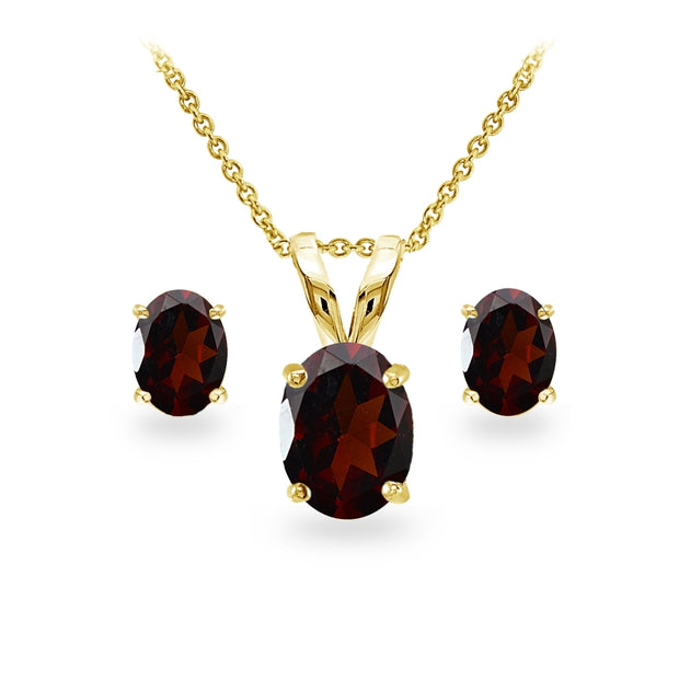 Yellow Gold Flashed Sterling Silver Garnet Oval-cut Solitaire Necklace and Stud Earrings Set