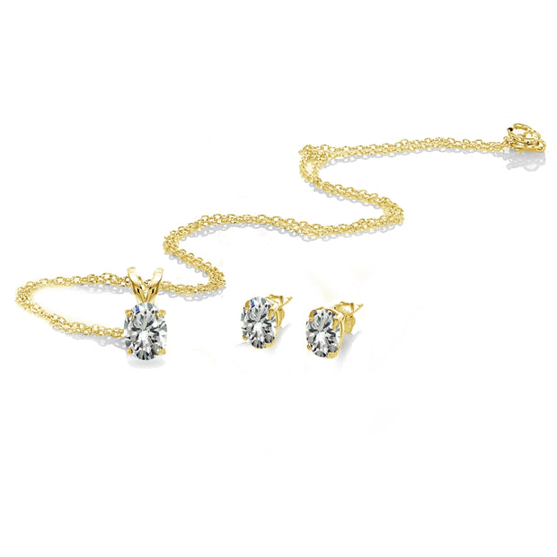 Yellow Gold Flashed Sterling Silver Cubic Zirconia Oval-cut Solitaire Necklace and Stud Earrings Set