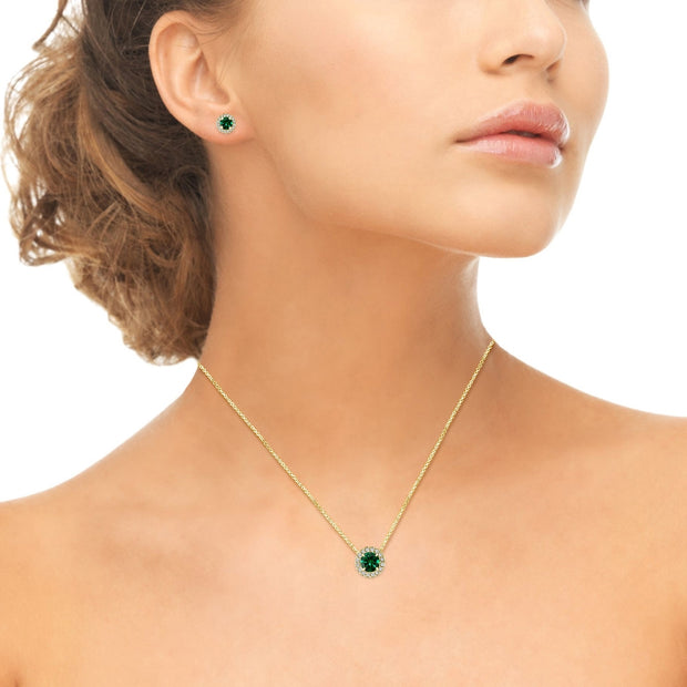 Yellow Gold Flashed Sterling Silver Simulated Emerald Round Halo Necklace & Stud Earrings Set with CZ Accents