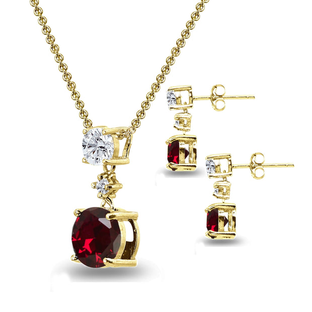 Yellow Gold Flashed Sterling Silver Created Ruby & White Topaz Round Three Stone Dangling Necklace & Stud Earrings Set