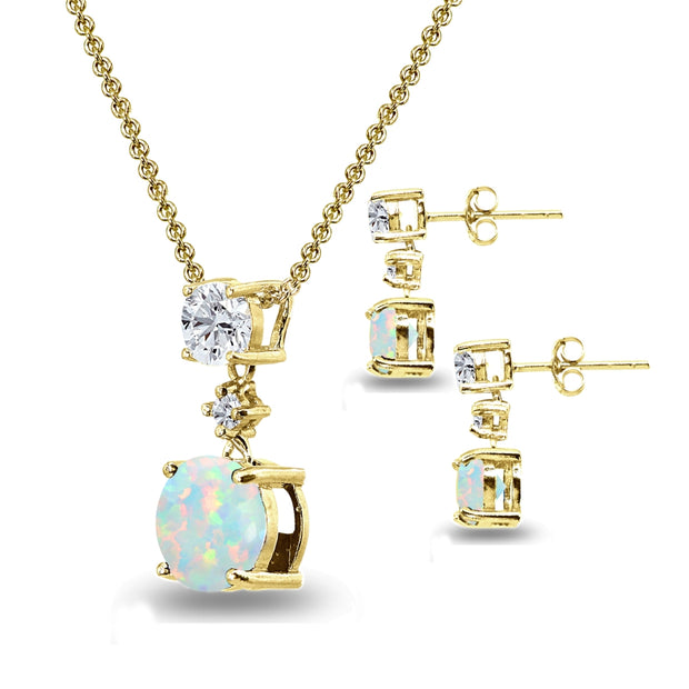 Yellow Gold Flashed Sterling Silver Simulated White Opal & Topaz Round Three Stone Dangling Necklace & Stud Earrings Set