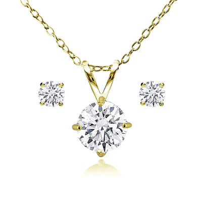 Gold Flash Sterling Silver AAA Cubic Zirconia Round Solitaire Necklace & Stud Earrings Set