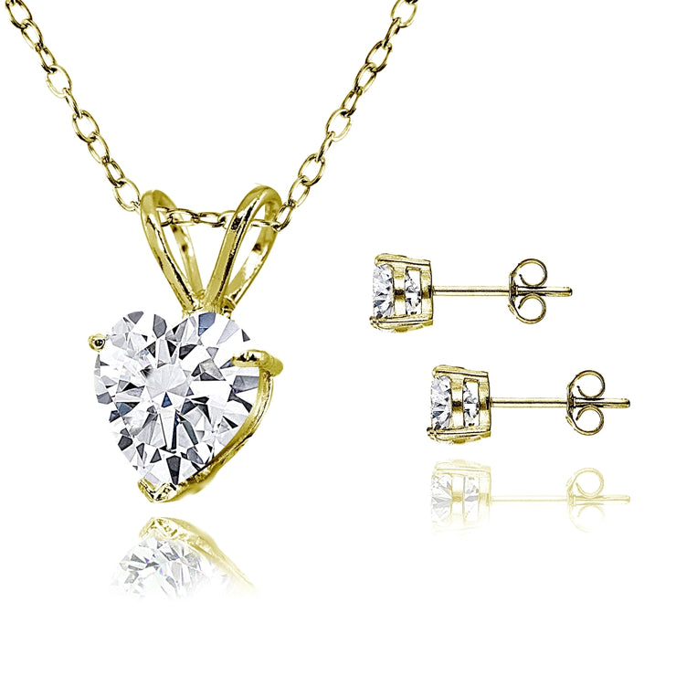 Gold Flash Sterling Silver AAA Cubic Zirconia Heart Solitaire Necklace & Stud Earrings Set