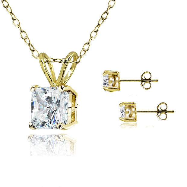 Gold Flash Sterling Silver AAA Cubic Zirconia Princess-cut Solitaire Necklace & Stud Earrings Set