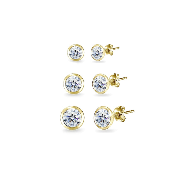 3-Pair Gold Flash Sterling Silver Cubic Zirconia Bezel Solitiarie Round Stud Earrings Set Made with Swarovski Zirconia, 4mm 5mm 6mm
