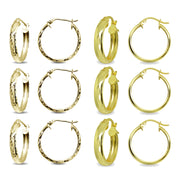 6-Pair Yellow Gold Flashed Sterling Silver 3x20mm Polished & Diamond-Cut Round Click-Top Small Hoop Earrings Set