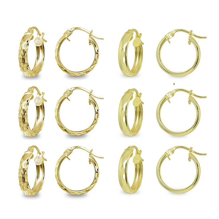 6-Pair Yellow Gold Flashed Sterling Silver 3x15mm Polished & Diamond-Cut Round Click-Top Small Hoop Earrings Set