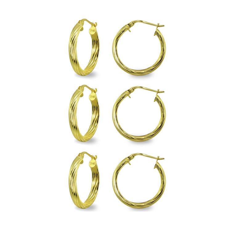 3-Pair Yellow Gold Flashed Sterling Silver Polished 3x15mm Twist Half Round Click-Top Small Hoop Earrings Set