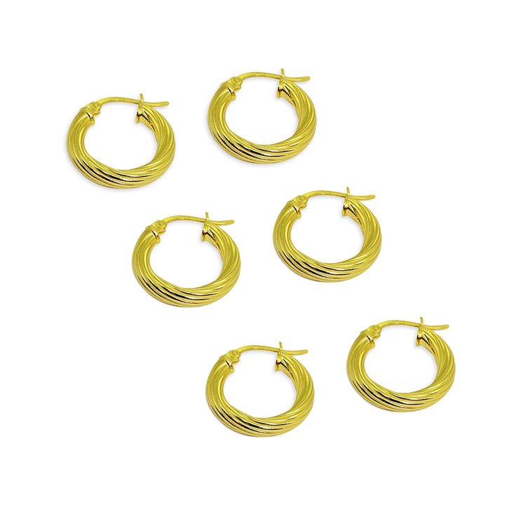 3-Pair Yellow Gold Flashed Sterling Silver Polished 3x15mm Twist Round Click-Top Small Hoop Earrings Set