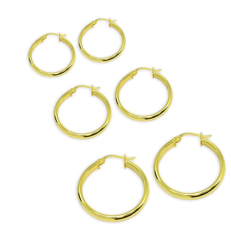 3-Pair Yellow Gold Flashed Sterling Silver Polished 3mm Half Round Click-Top Small Hoop Earrings Set, 15mm, 20mm or 25mm