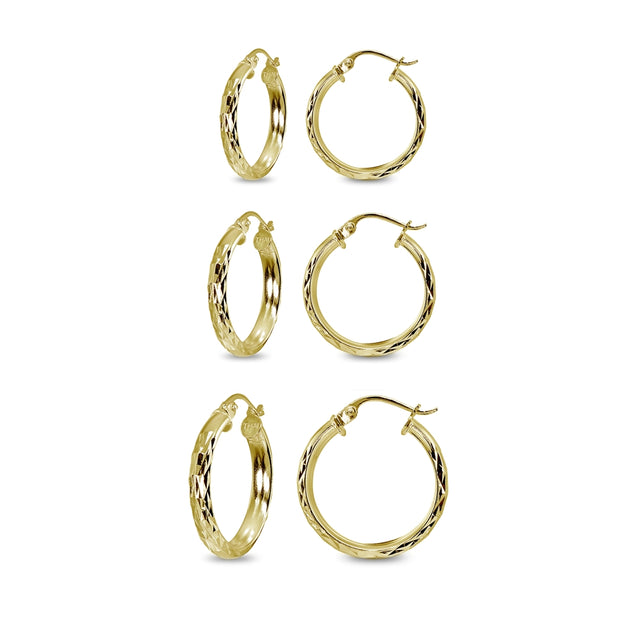 3-Pair Yellow Gold Flashed Sterling Silver 3mm Diamond-Cut Round Click-Top Small Hoop Earrings Set, 15mm, 20mm or 25mm