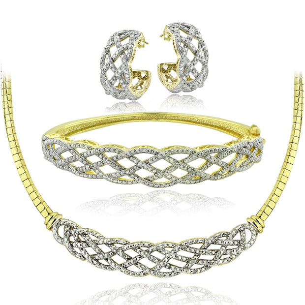 3/4 Ct Diamond Weave Necklace, Bracelet, Earrings Set - Gold Tone