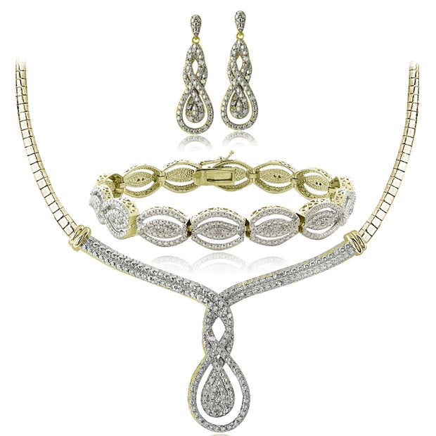 3/4 Ct Diamond Intertwining Infinity Necklace, Bracelet, Earrings Set - Gold Tone