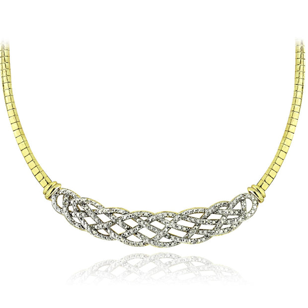 1/2 Carat tdw Diamond Weave Omega Necklace & Earrings Set - Gold Tone