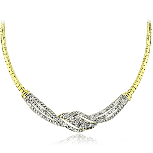 1/2 Carat tdw Diamond Twist Omega Necklace & Earrings Set - Gold Tone