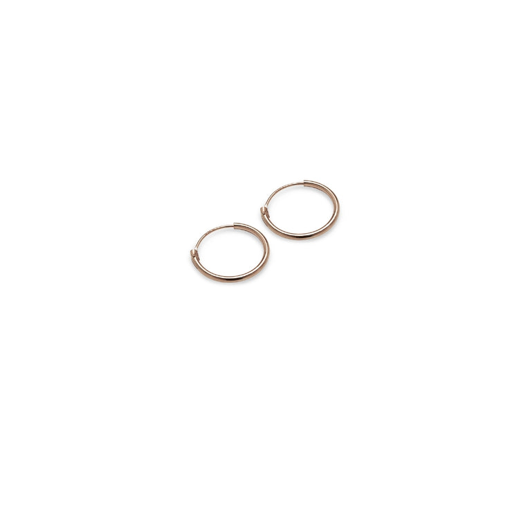 Rose Gold Tone over Sterling Silver Set of Three Endless Hoop Earrings, 10mm