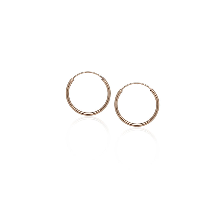 Rose Gold Flash Sterling Silver 10mm, 12mm, 14mm& 16mm Small Endless Hoop Earrings, Set of 4
