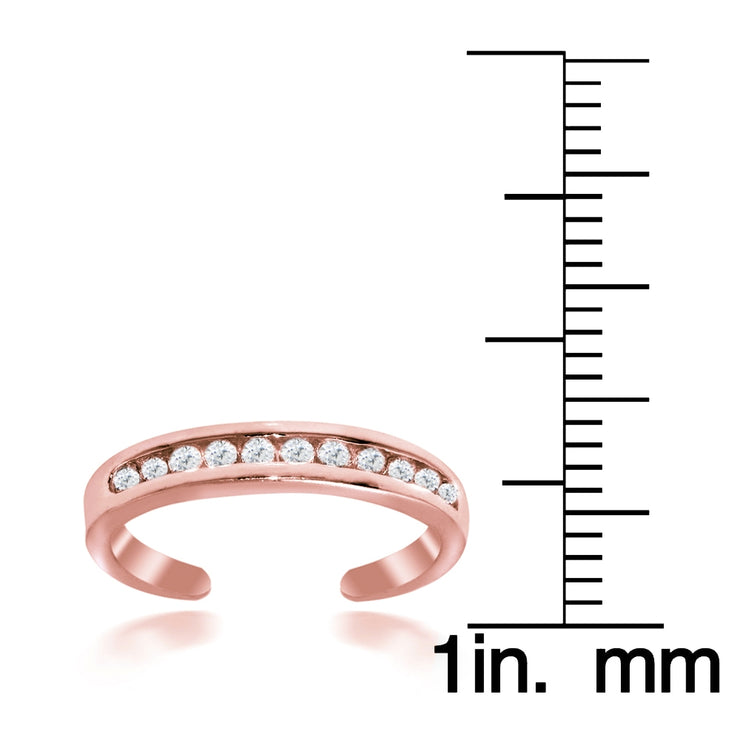 Rose Gold Tone over Sterling Silver Cubic Zirconia Anklet and Toe Ring Set