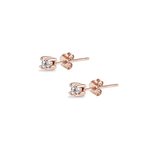 Rose Gold Flashed Sterling Silver Cubic Zirconia set of 5 Round 2mm Stud Earrings