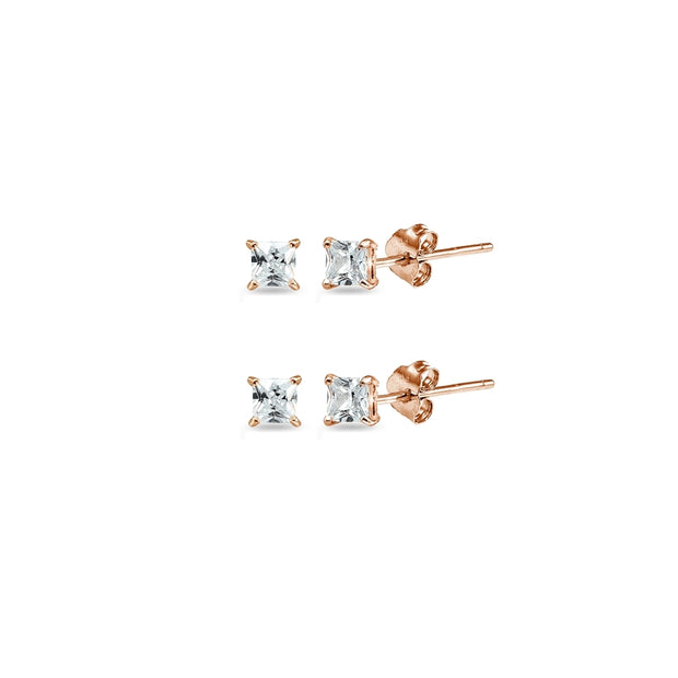 Rose Gold Flashed Sterling Silver Cubic Zirconia Set of 2 Princess-Cut Square 2mm Stud Earrings