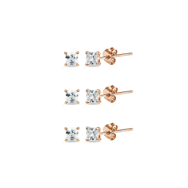 Rose Gold Flashed Sterling Silver Cubic Zirconia set of 3 Princess-Cut Square 2mm Stud Earrings