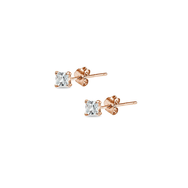 Rose Gold Flashed Sterling Silver Cubic Zirconia set of 5 Princess-Cut Square 2mm Stud Earrings