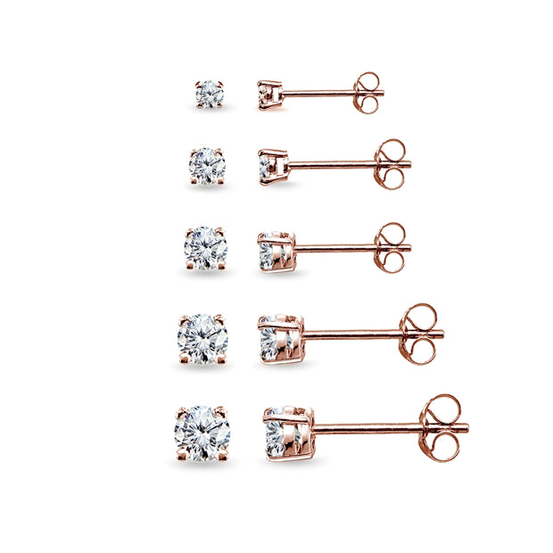 5 Pair Set Rose Gold Flashed Sterling Silver Cubic Zirconia Round Stud Earrings, 2mm 3mm 4mm 5mm 6mm
