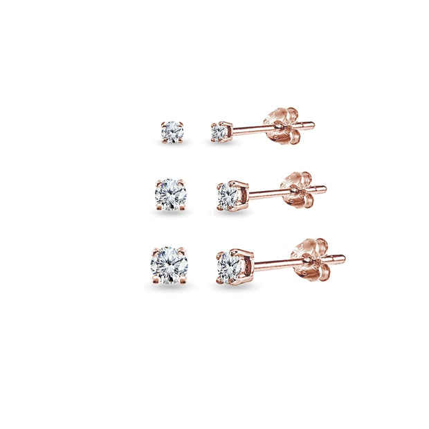 3 Pair Set Rose Gold Flashed Sterling Silver Cubic Zirconia Round Stud Earrings, 2mm 3mm 4mm