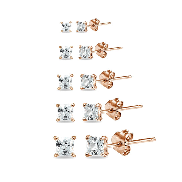5 Pair Set Rose Gold Flashed Sterling Silver Cubic Zirconia Princess-Cut Square Stud Earrings, 2mm 3mm 4mm 5mm 6mm