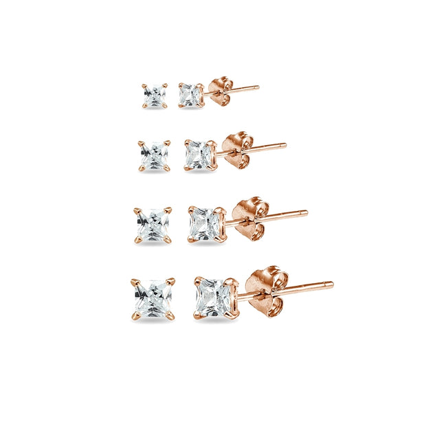 4 Pair Set Rose Gold Flashed Sterling Silver Cubic Zirconia Princess-Cut Square Stud Earrings, 2mm 3mm 4mm 5mm