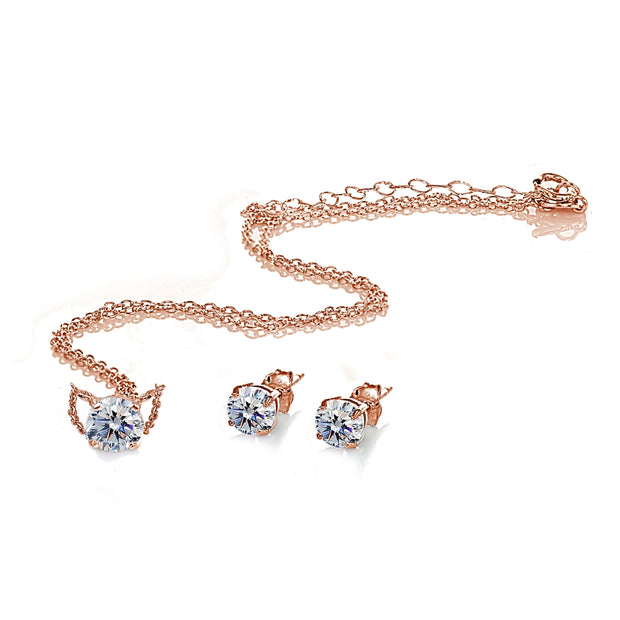 Rose Gold Flashed Sterling Silver Cubic Zirconia Round Solitaire Choker Necklace and Stud Earrings Set