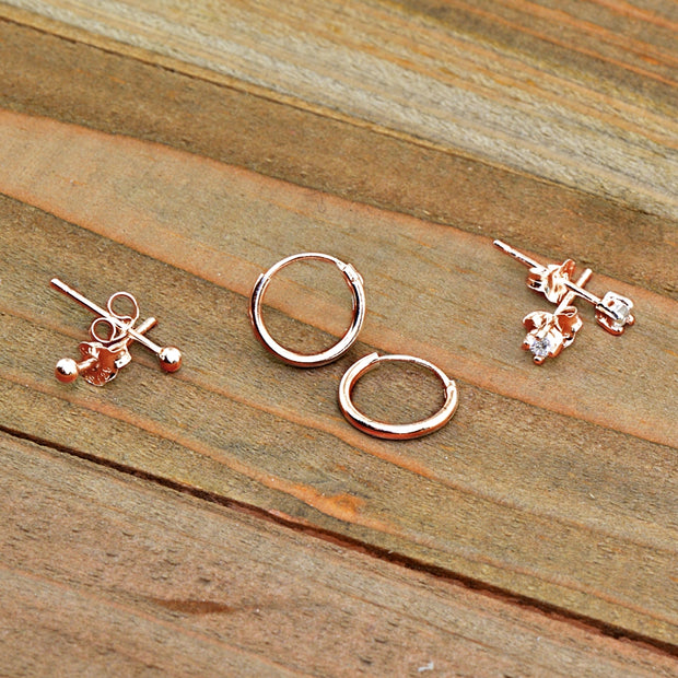 3 Pairs Rose Gold Flash Sterling Silver Lightweight Unisex 10mm Mini Small Continuous Endless Hoops, Tiny Round 2mm CZ & Ball Bead Stud Earrings Set