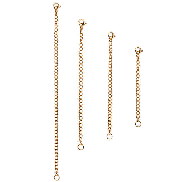 Set of 4 Rose Gold Flash Stainless Steel Chain Link Extenders for Pendant Necklace Bracelet Anklet (2-6 Inches)