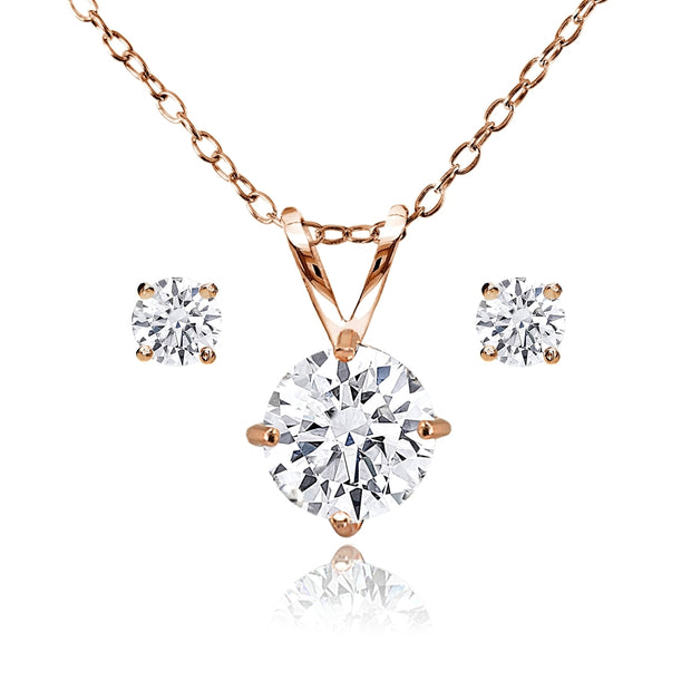 Rose Gold Flash Sterling Silver AAA Cubic Zirconia Round Solitaire Necklace & Stud Earrings Set
