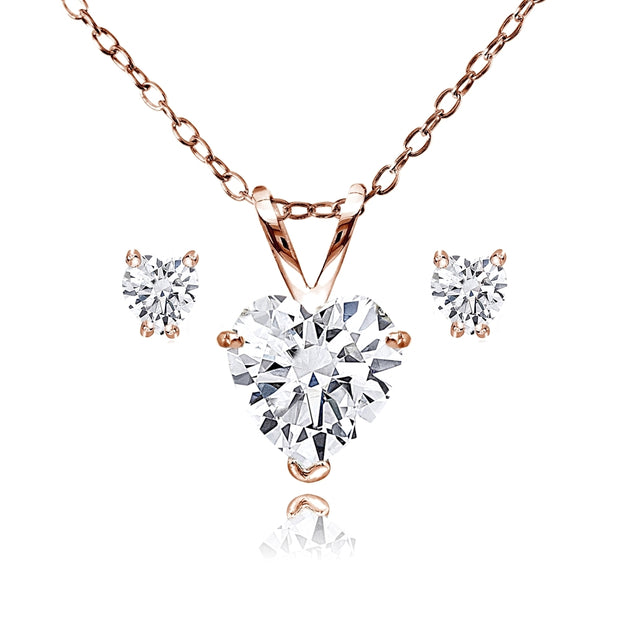 Rose Gold Flash Sterling Silver AAA Cubic Zirconia Heart Solitaire Necklace & Stud Earrings Set