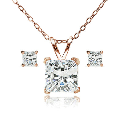 Rose Gold Flash Sterling Silver AAA Cubic Zirconia Princess-cut Solitaire Necklace & Stud Earrings Set