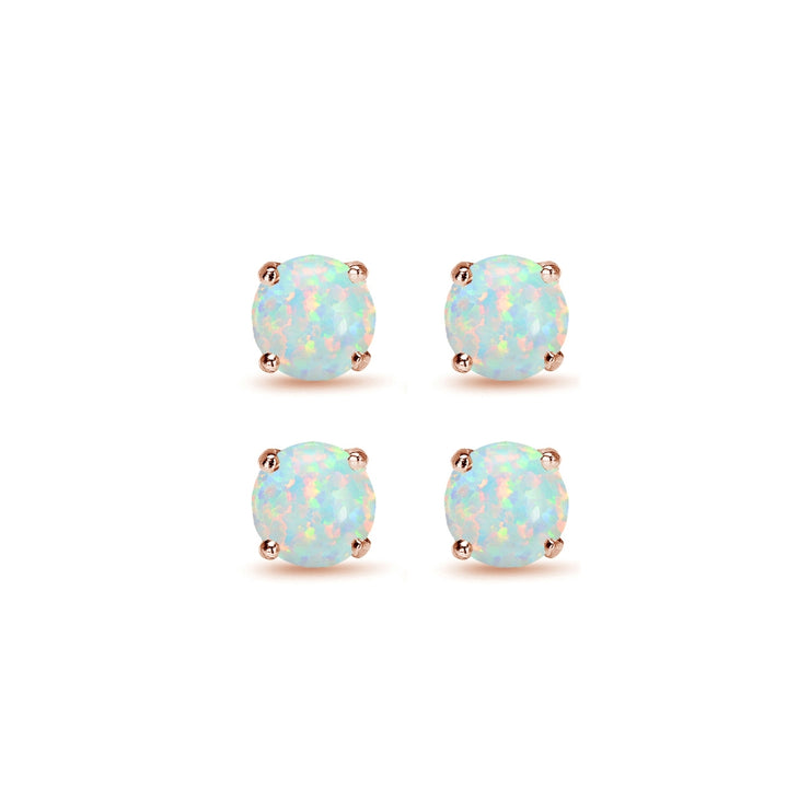 2 Pair Set Rose Gold Flash Sterling Silver 6mm Created White Opal Round Stud Earrings