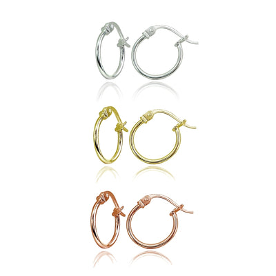 3 Pair Set Sterling Silver, Yellow & Rose Gold Flashed Tiny Small 12mm High Polished Round Thin Lightweight Unisex Hoop Earrings